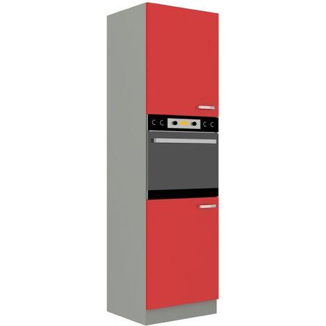 Küchen Hochschrank 60 cm Rose Hochglanz rot + Grau Küchenzeile Küchenblock Küche