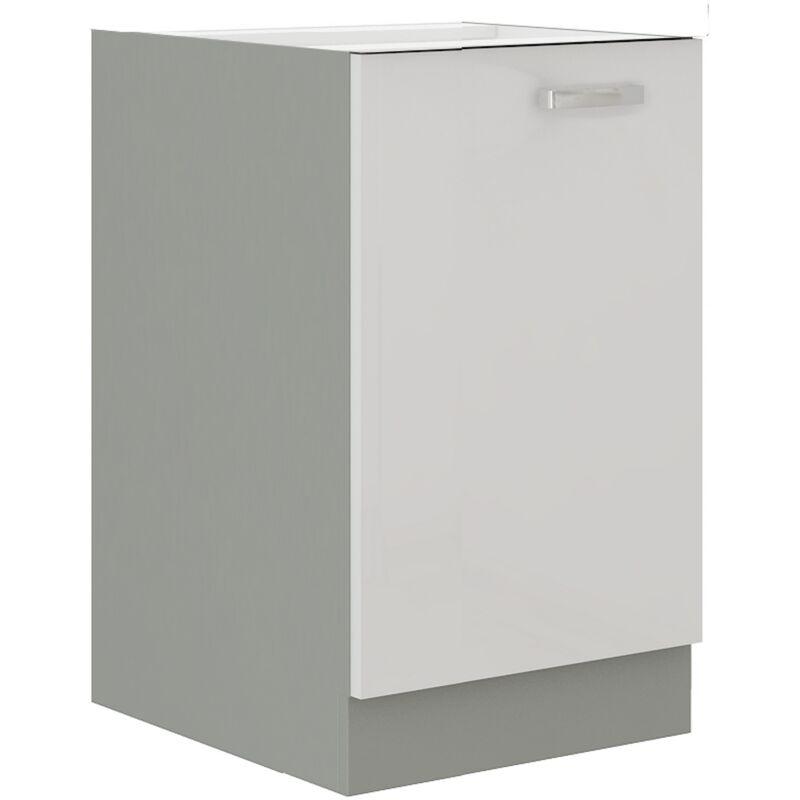 Unterschrank 40 Bianca Weiß Hochglanz + Grau Küchenzeile Küchenblock Küche - KÜCHEN PREISBOMBE
