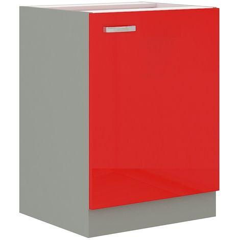 Küchen Unterschrank 60 cm Rose Hochglanz Rot Grau Küchenzeile Küchenblock Küche