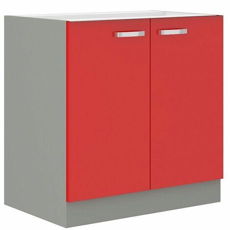 Küchen Unterschrank 80 cm Rose Hochglanz Rot Grau Küchenzeile Küchenblock Küche