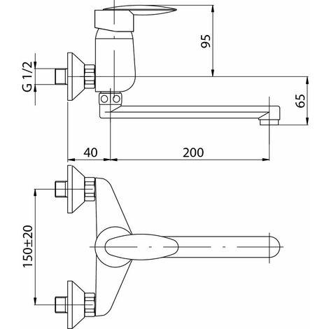 Küchen- Wandmischbatterie mit langem Auslauf Delta, chrom, VA2450010