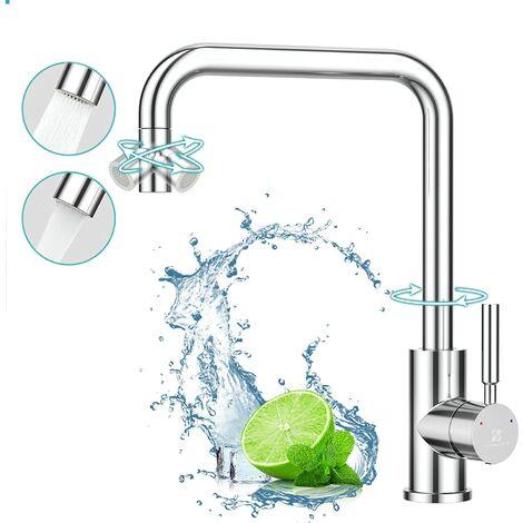 Küchenarmatur 360° drehbar Mischbatterie Küche 2-Strahlen Wasserhahn Küche mit Flexibler Auslass Spültischarmatur Armatur für Küchen Einhebelmischer Küche chrom