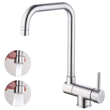 Küchenarmatur 360° drehbar Vorfenster Armatur Umklappbar Wasserhahn Küche aus Edelstahl Spültischarmatur für Küche, Matt