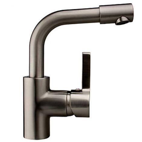 Küchenarmatur Einhebelarmatur, kleine Armatur in modernem Design, gebürstetes Nickel