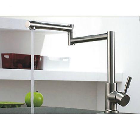 Küchenarmatur flexibel, abnehmbarer Sprühkopf, Ausführung in verchromtem Nickel