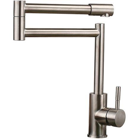 Küchenarmatur flexibel, modernes Design, Einhebelarmatur, Ausführung in gebürstetem Nickel