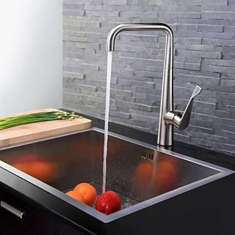 Küchenarmatur (hoch) Einhebelarmatur in modernem Design, gebürstetes Nickel