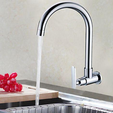 Küchenarmatur massiv, zur Wandmontage, Einhebelarmatur, Armatur in modernem Design