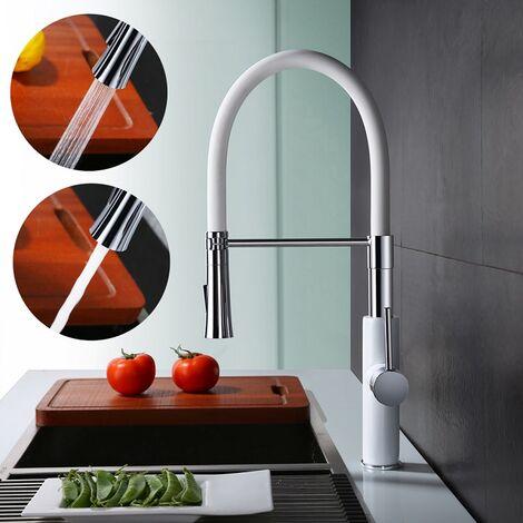 Küchenarmatur mit Handbrause Wasserhahn Küche Weiß Mischbatterie Küche für Spüle Spültischarmatur mit variabler Durchflussmenge Oberer Schwenkarm Silikonschlauch