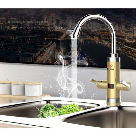 Küchenarmatur mit integriertem Warmwasserbereiter, Silber, verchromt