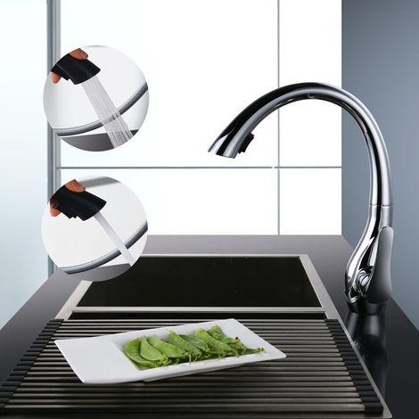 Küchenarmatur mit Mischer, Schwanenform, ausziehbare Brause, 2 Strahlen, Durchflussmenge einstellbar, drehbarer Auslauf 360°