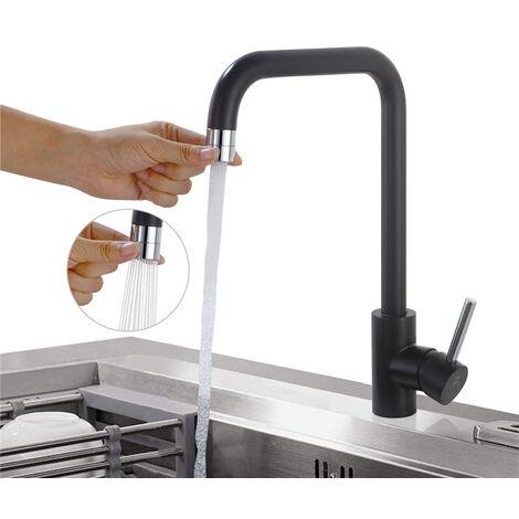 Küchenarmatur Schwarz Wasserhahn küche 2 Funkionen Spültischarmatur Schwarz Mischbatterie für Küchen