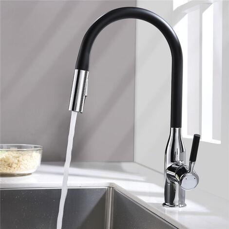Küchenarmatur schwarz Wasserhahn Küche Ausziehbar Armatur mit 360° schwenkbar, Spültischarmatur Mischbatterie Küche Armatur Einhebelmischer Hochdruck
