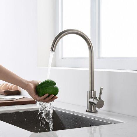 Küchenarmatur Spültischarmatur mit Hoher Auslauf(235mm) Wasserhahn Küche Schwenkbereich 360° Mischbatterie Küche Edelstahl Gebürstet Armatur für Küche [Energieklasse A+]