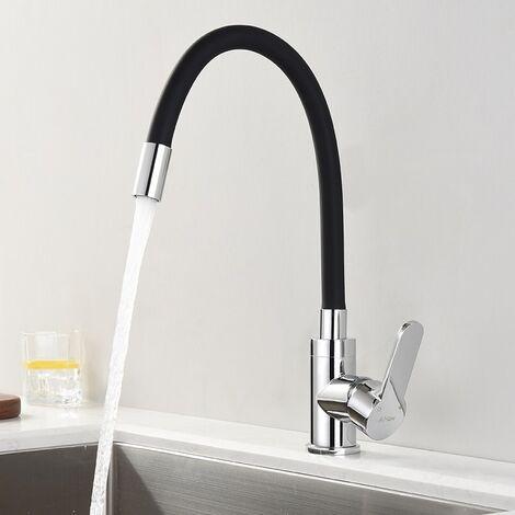 Küchenarmatur - Wasserhahn Küche mit Flexibler Auslauf, Hoher Auslauf(235mm) Spültischarmatur schwarz G3/8'' Anschlüsse, Hochdruck Armaturen Mischbatterie für Küche Spüle