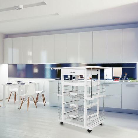Kücheninsel Küchenwagen Sideboard Küchenwagen Küchenschrank 67x37x75cm Weiß
