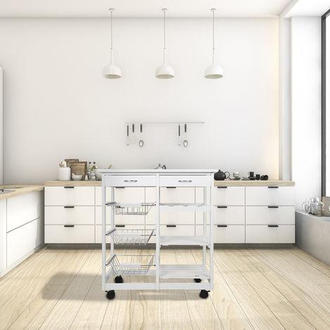 Kücheninsel Küchenwagen Sideboard Küchenwagen Küchenschrank Weiß 67x37x75cm