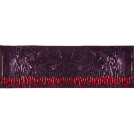 Küchenläufer Küchenteppich 57x180 cm Anthrazit Rot Chili