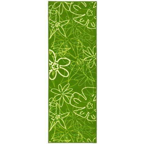 Küchenläufer Teppich Läufer Blumen-Motiv Grün waschbar Oeko-Tex