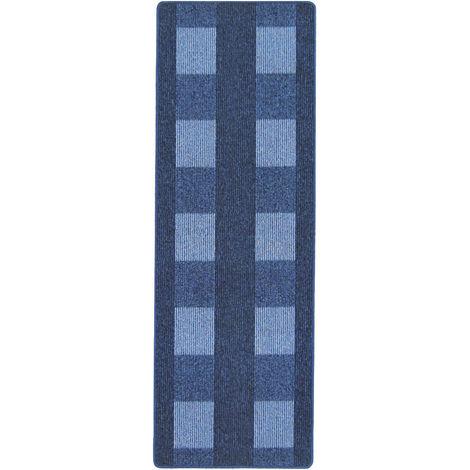 Küchenläufer Teppich Läufer Karo Muster Blau verschiedene Größen