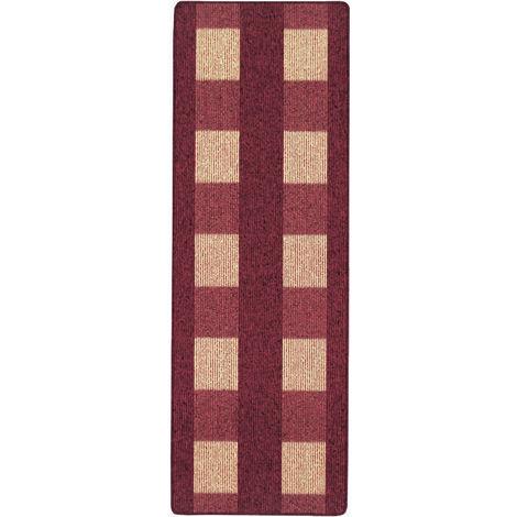Küchenläufer Teppich Läufer Karo Muster Rot verschiedene Größen