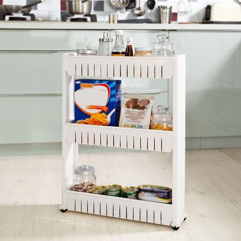 Küchenregal Ordnungs |Gewürzregal | Gewürzregal | Küchenwagen | Weiß 3 Ablagen (54*12*71cm)