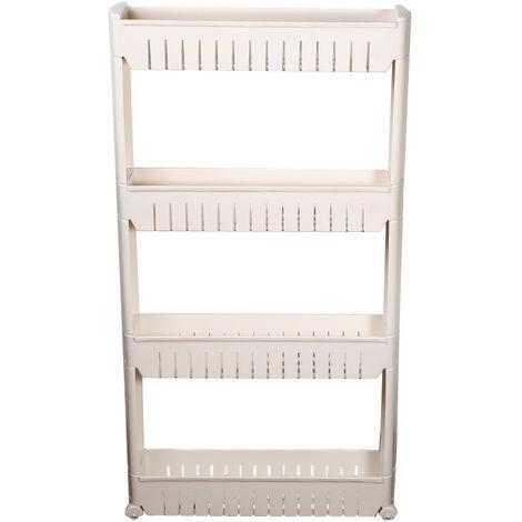 Küchenregal Ordnungs |Gewürzregal | Gewürzregal | Küchenwagen | Weiß 4 Ablagen 54.5*12.5*102cm