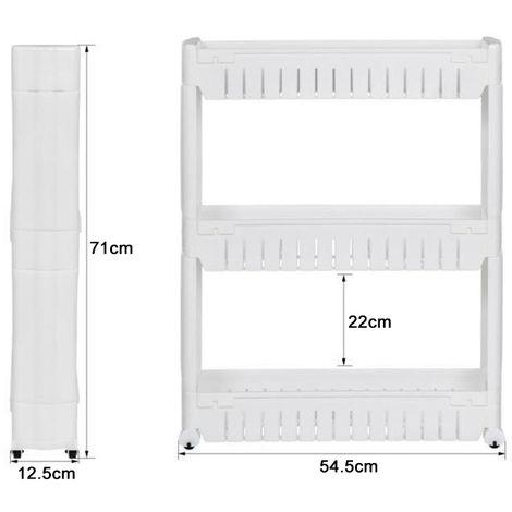 Küchenregal Ordnungswagen Weiß,3 Ablagen (54*12*71cm)