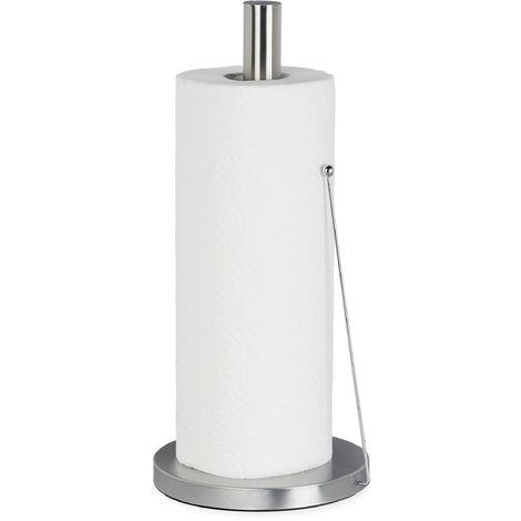 Küchenrollenhalter aus Edelstahl, Design Papierrollenhalter stehend, für die Küche, HxD: 33 x 15 cm, silber