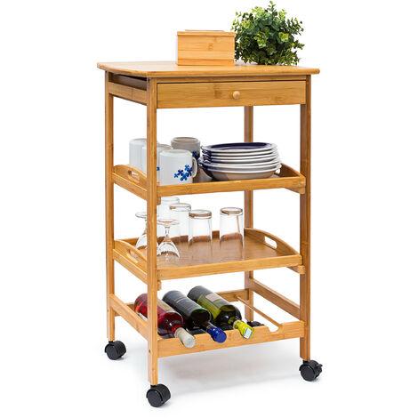 Küchenrollwagen James L HxBxT: 80,5x50x37 cm Bambus Sevierwagen mit Schublade und 2 Tabletts als rollbarer Küchenwagen mit Flaschenregal bzw. Weinregal aus Holz mit Ablage für Teller, natur