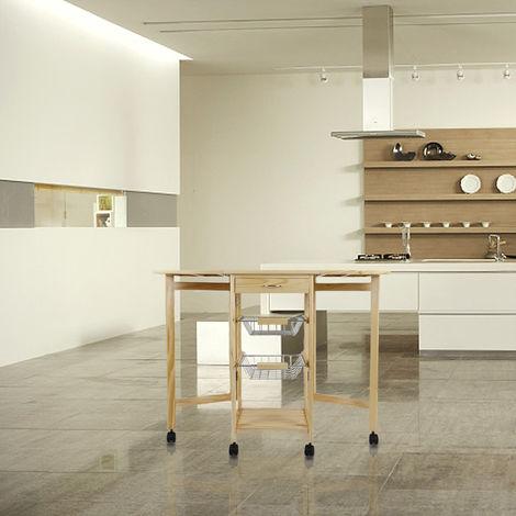 Küchenrollwagen Rollwagen Holz 4 Räder mit Schublade - (3 Ebenen+Faltbar )92x37x75cm