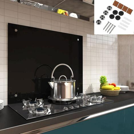 Küchenrückwand Spritzschutz Fliesenspiegel Küche Wandschutz Glas 6mm ESG Schwarz - 90x40CM