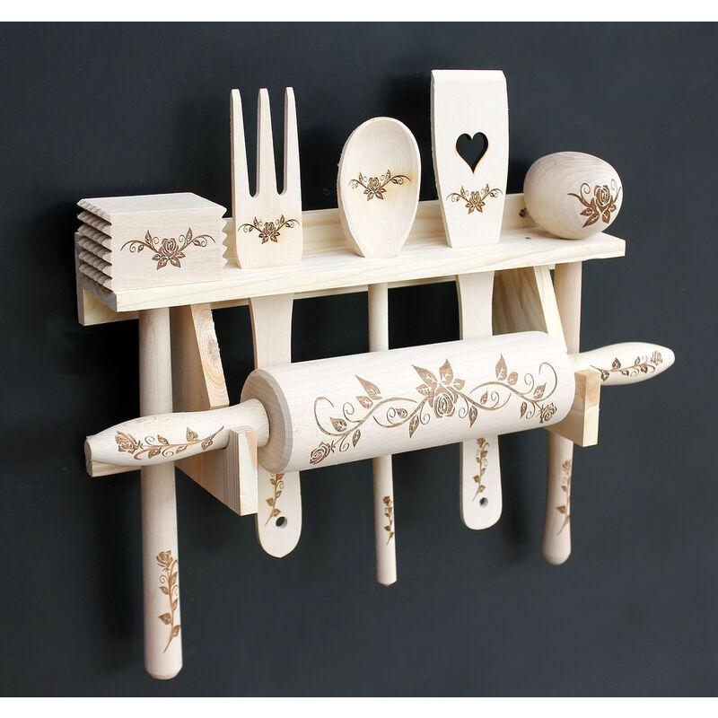 aus Holz mit Gravur Küchenhelfer Kochlöffel Teigrolle Regal Küchenset 6 tlg