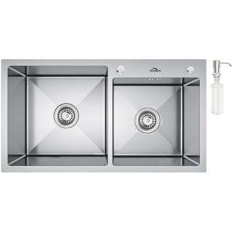 Küchenspüle 78×43×22cm aus Gebürstetem Edelstahl 2 Becken Einbauspüle,2 Montagelöcher