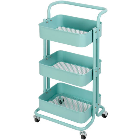 Küchentrolley Küchenwagen Rollwagen Servierwagen Metall für Küche Bad Büro Blau Kingpower