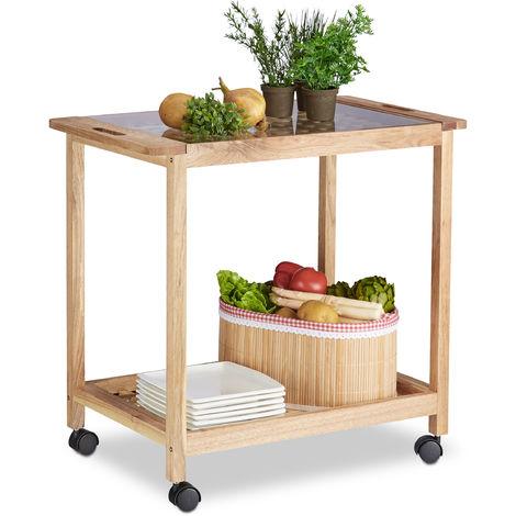 Küchenwagen auf Rollen, Holz Servierwagen mit Glasplatte, 2 Etagen Rollwagen, HxBxT: 62 x 66 x 38 cm, natur