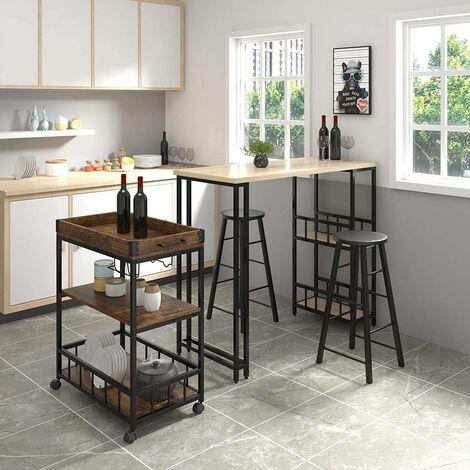 Küchenwagen aus Metall mit Weinregal 69,5x39,5x85cm
