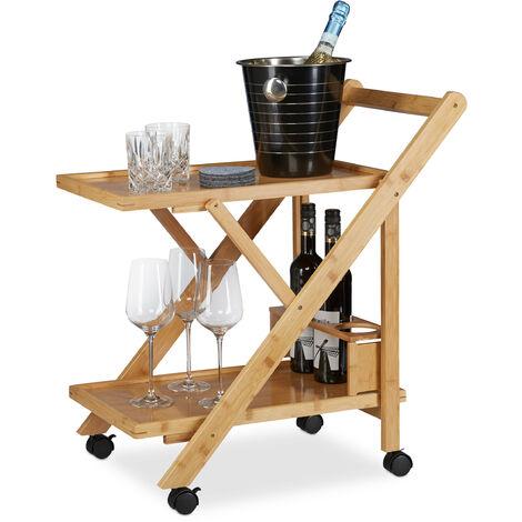 Küchenwagen Bambus, Servierwagen klappbar mit Flaschenhalter, Rollwagen Holz, HxBxT: 70 x 40,5 x 65 cm, natur