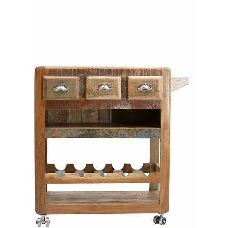 Küchenwagen FRIDGE-14 78x48x85cm bunt Altholz lackiert