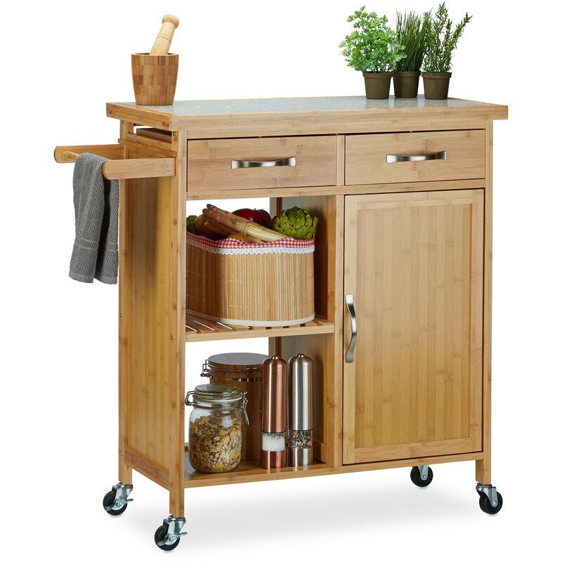 Küchenwagen Holz, Bambus, 4 Rollen, Arbeitsplatte aus Marmor, mit  Schubladen, HBT: 85,5 x 89,5 x 36 cm, natur