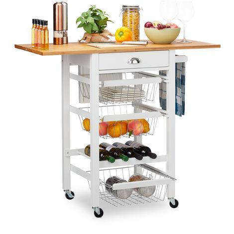 Küchenwagen, Küchenbutler mit klappbarer Arbeitsplatte, Landhausstil, 3 Körbe, Messerblock, für Flaschen, weiß