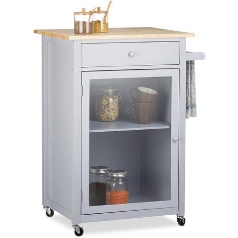 Kuchenwagen Mit Glastur Schublade Arbeitsplatte 360