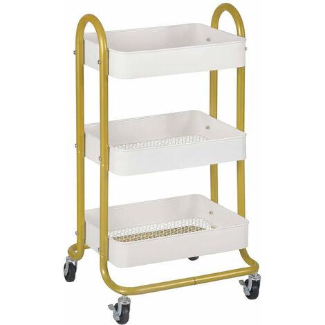 Küchenwagen Rollwagen 46x38x80cm golden weiß