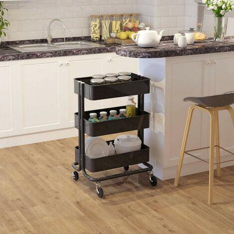 Küchenwagen Rollwagen mit 3 Etagen aus Metall schwarz