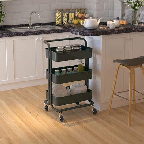 Küchenwagen Rollwagen mit Griff aus Metall grau
