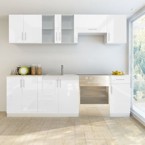 Küchenzeile 7-tlg. Hochglanz Weiß 240 cm