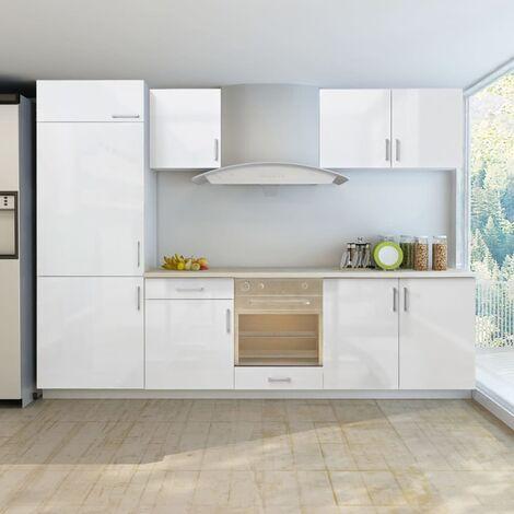 Küchenzeile für Einbaukühlschrank 7-tlg. Hochglanz Weiß 270 cm