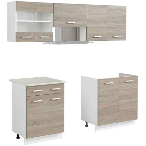 5-tlg. Küchenzeile Set mit Dunstabzugshaube Eiche-Optik