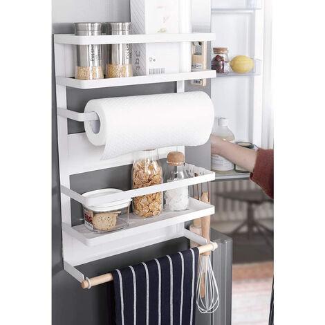 Kühlschrank Hängeregal Gewürzregal Regal Küche Organizer Aufbewahrung mit Küchenrollenhalter 30x12x46cm