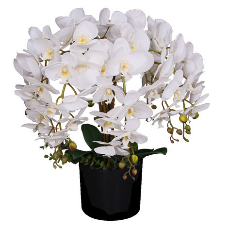 Künstliche Orchidee Kunstpflanze Pflanze Violett Lila mit Topf 80cm Decovego